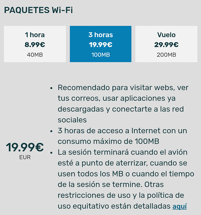 wifi en avion level